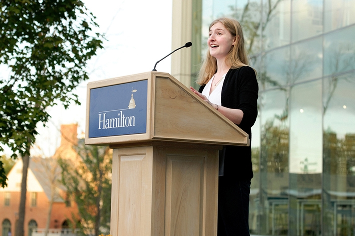 Wynn VanDusen &apos;15 speaks during The Kennedy Center dedication ceremony.<br />Photo: Rebecca L. Sheets