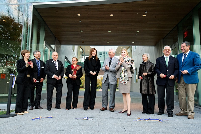 Distinguished guests cut the ribbon during the Kennedy Center for Theatre and the Studio Arts dedication ceremony.<br />Photo: Rebecca L. Sheets