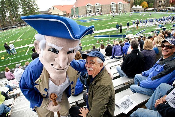 New mascot &quot;Alex&quot; with John Pitarresi &apos;70.<br />Photo: Nancy L. Ford