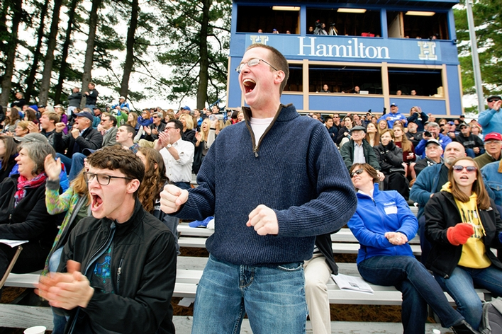 Bryon Banman &apos;16 and Eric Wistman &apos;16 cheer on the Continentals.<br />Photo: Nancy L. Ford