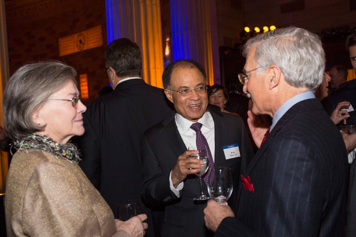 Trustee Drew Days III &apos;63 with Ann Langdon and Rory Radding &apos;71 at the 18th Annual 1812 Leadership Circle dinner.<br />Photo: Don Hamerman