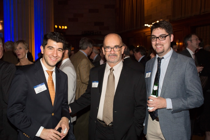 Nick Stagliano &apos;11, Bob Hansmann &apos;72, Sam Doyon &apos;12 at the 18th Annual 1812 Leadership Circle dinner.<br />Photo: Don Hamerman