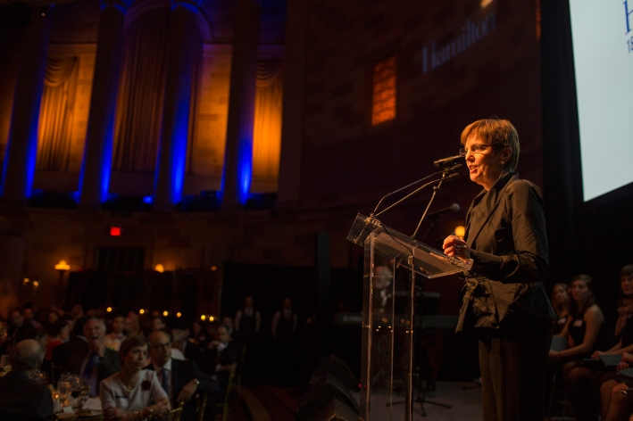 President Joan Hinde Stewart addressed a gathering of 350 alumni, parents, and friends at the 18th Annual 1812 Leadership Circle dinner.<br />Photo: Don Hamerman