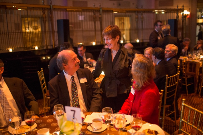President Joan Hinde Stewart speaks with Jane Irwin K&apos;74 and Larry Droppa P&apos;16.<br />Photo: Don Hamerman