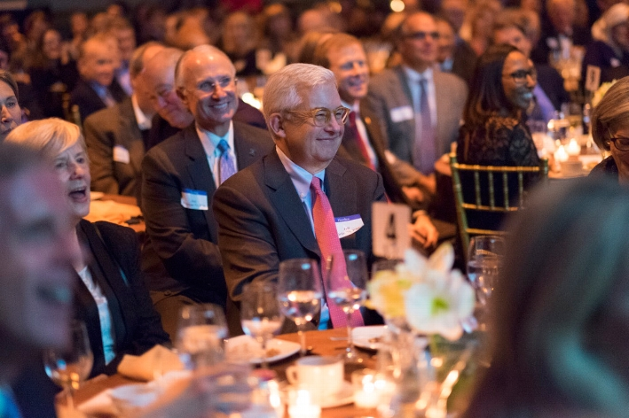 Trustees Jeff Little &apos;71, P&apos;04 and Jack Withiam &apos;71, P&apos;16 listen to the College Hill Singers perform at the18th Annual 1812 Leadership Circle dinner.<br />Photo: Don Hamerman