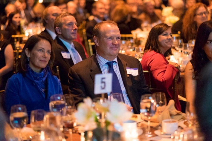 Trustee Greg Hoogkamp &apos;82 listens to the College Hill singers perform at the 18th Annual 1812 Leadership Circle dinner.<br />Photo: Don Hamerman