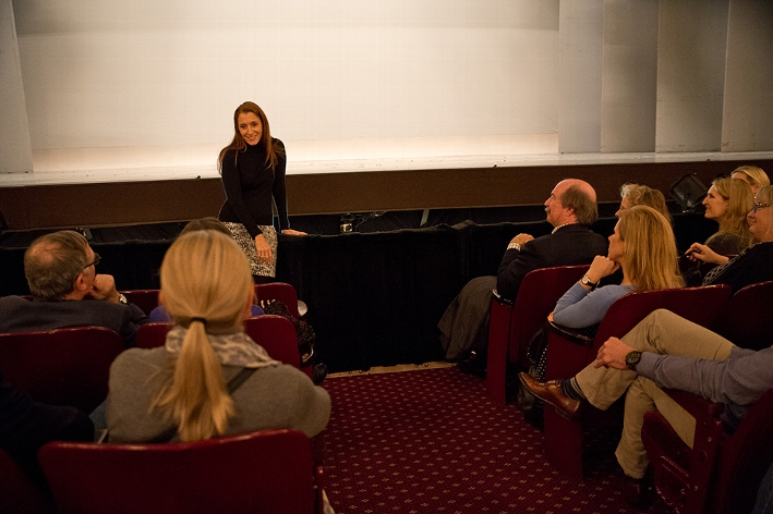Rachel Weinstein &apos;93, co-producer of &quot;An American in Paris&quot;, and members of the cast offer a post-show talkback for Hamilton College attendees.<br />Photo: Claudette Ferrone