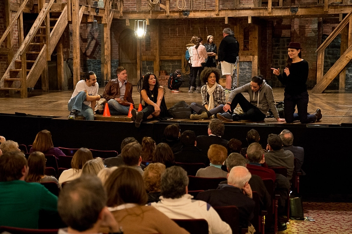 Lin-Manuel Miranda and the cast of &quot;Hamilton: An American Musical&quot; offer a post-show talkback for Hamilton College attendees.<br />Photo: Claudette Ferrone