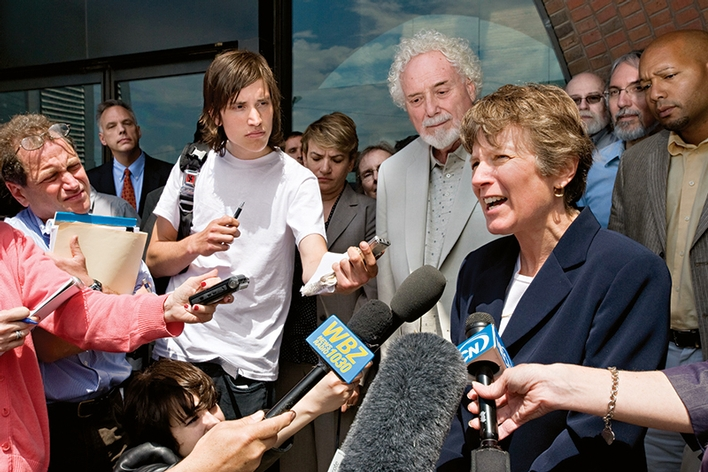 Mary Bonauto talks with the press outside the Federal District Court in Boston following oral argument in Gill v. Office of Personnel Management challenging the Defense of Marriage Act on May 6, 2010.