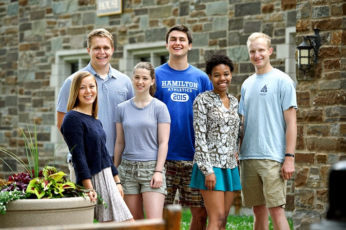 Left to right, Hannah Strong '17, Bill Gordon '18, Laura Young '17, Ryan McAlonan'18, Jasmine Murray '18, and Sam Bernstein '17, summer tour guides at Hamilton College on Wednesday, June 10, 2015 in Clinton, NY.