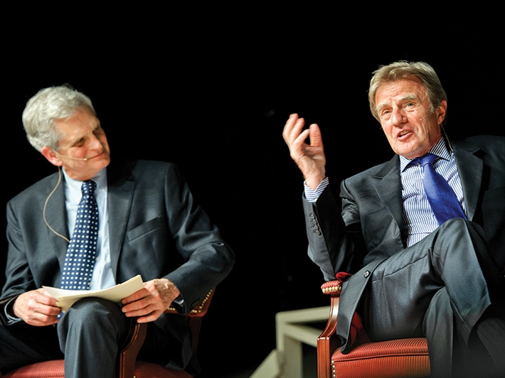 At the spring Great Names event, the audience listens attentively as Nobel Peace Prize laureate Bernard Kouchner responds to a question posed by Edward Walker '62.