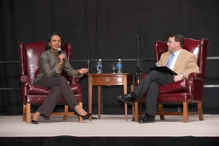 After her lecture, Dr. Rice sat down with Professor Rob Martin, chair of the Government Department, to answer questions submitted by members of the Hamilton community.