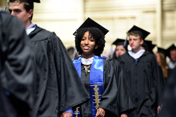 Daphney Gaston smiling at Commencement.<br />Photo: Nancy L. Ford