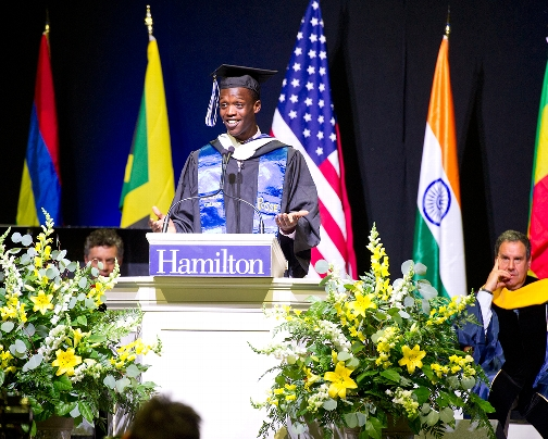 Jeremy Mathurin was selected by his classmates to deliver remarks.<br />Photo: Nancy L. Ford