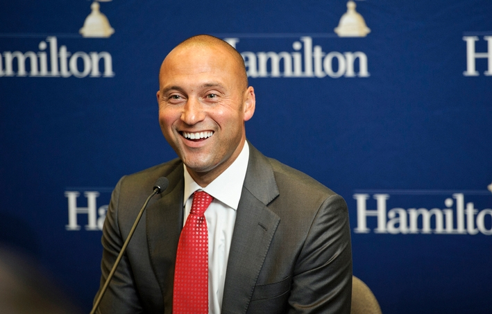 Derek Jeter, former captain and shortstop of the New York Yankees, participated in a press conference at Hamilton College.<br />Photo: Nancy L. Ford