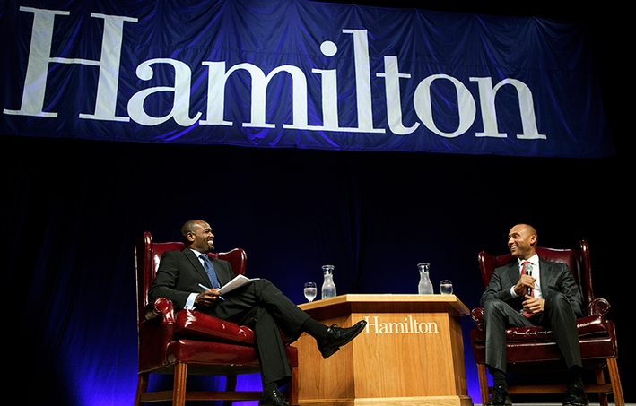 Harold Reynolds and Derek Jeter share a joke during the Sacerdote Great Names Series event.<br />Photo: Nancy L. Ford