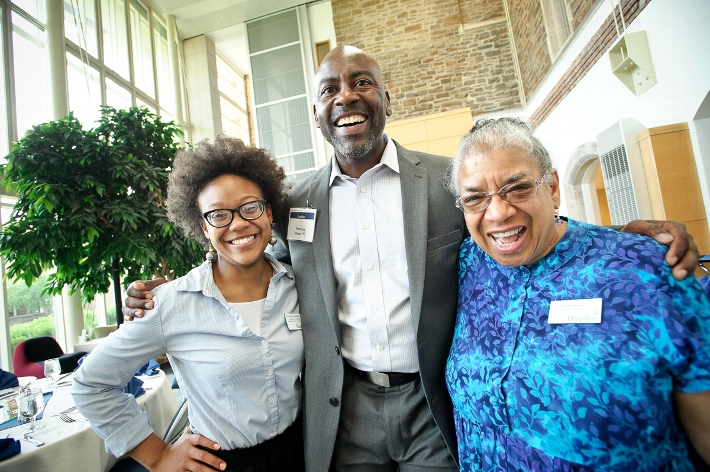 Laura Lee Smith &apos;11, Torrence Moore &apos;92 and Professor of Africana Studies and Classics Shelley Haley at the Coming Together Reception.<br />Photo: Nancy L. Ford