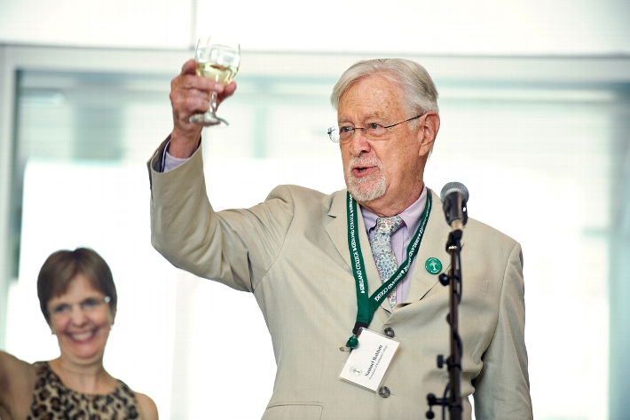 President of Kirkland College Sam Babbitt gives a toast during the 50th anniversary celebration of the Kirkland College&apos;s charter.<br />Photo: Nancy L. Ford