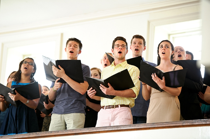 "The College Choir sings the new College song, ""I Left My Heart on the Hill.""<br />Photo: Nancy L. Ford"