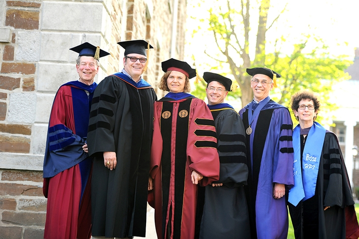 From left: Bob Simon, Chaise LaDousa, Myriam Cotten, Rob Martin, Dan Chambliss and Nancy Rabinowitz, who received Dean's Scholarly Achievement awards.