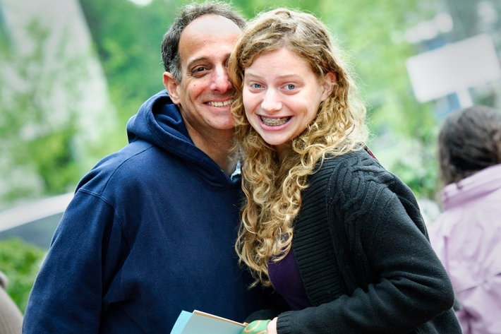 Sarah Zeiberg &apos;18 stops for a photo with her father Andrew Zeiberg.<br />Photo: Rebecca L. Sheets