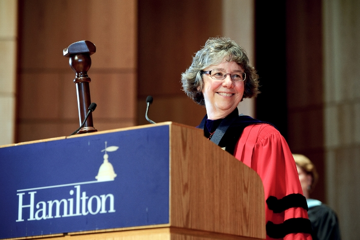 College Marshall Margie Thickstun concludes the ceremony.<br />Photo: Nancy L. Ford