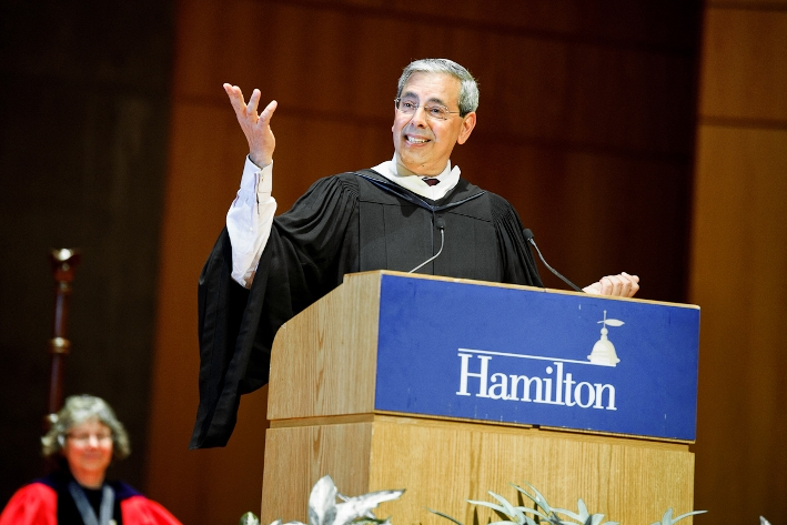 "John Hadity '83 gave the address titled ""The Underrated Element of Surprise.""<br />Photo: Nancy L. Ford"