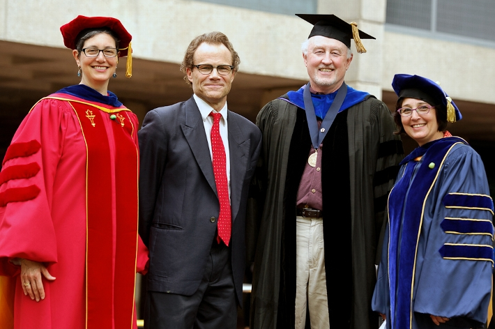 Professors Naomi Guttman, Doran Larson, Tom Jones and Lisa Trivedi.<br />Photo: Nancy L. Ford