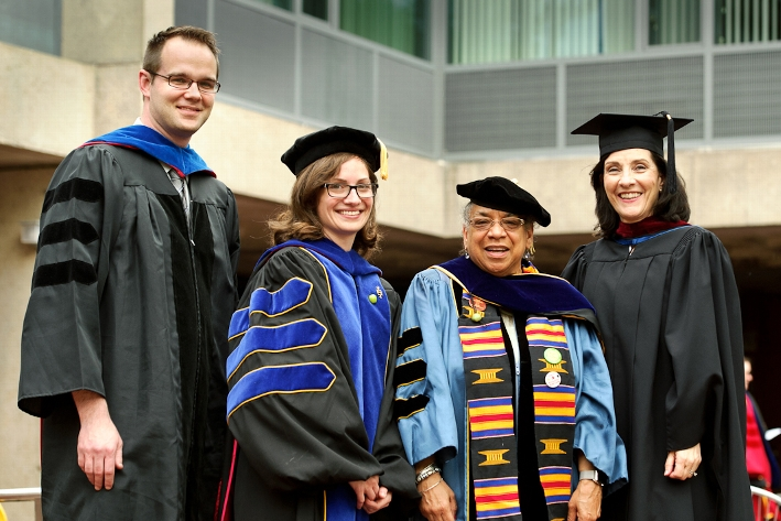 Professors Max Majireck, Courtney Gibbons, Shelley Haley and Susan Mason.<br />Photo: Nancy L. Ford
