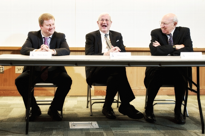 From left to right, Russian foreign policy expert Dmitry Suslov, Ambassador Bill Luers &apos;51 and Ambassador Thomas Pickering&#xa0;speak in Erica DeBruin&apos;s U.S. Foreign Policy class.<br />Photo: Nancy L. Ford