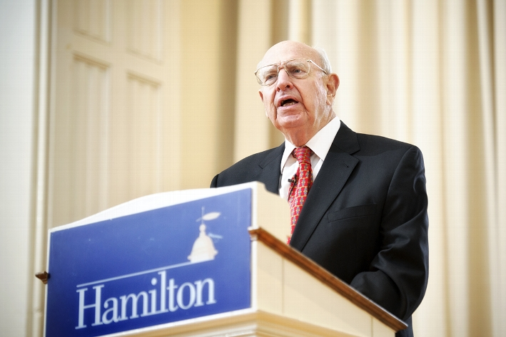 Ambassador Thomas Pickering, a career foreign service officer and distinguished fellow at the Brookings Institution, spoke at the Chapel.<br />Photo: Nancy L. Ford
