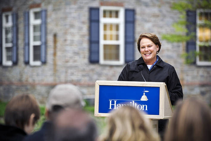 Vice President and Dean of Students Nancy Thompson speaks during the Morris House dedication.<br />Photo: Nancy L. Ford
