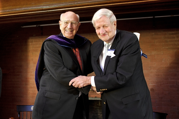 Ambassador Thomas Pickering, left, hugs his friend Ambassador Bill Luers &apos;51 after receiving an honorary degree.<br />Photo: Nancy L. Ford