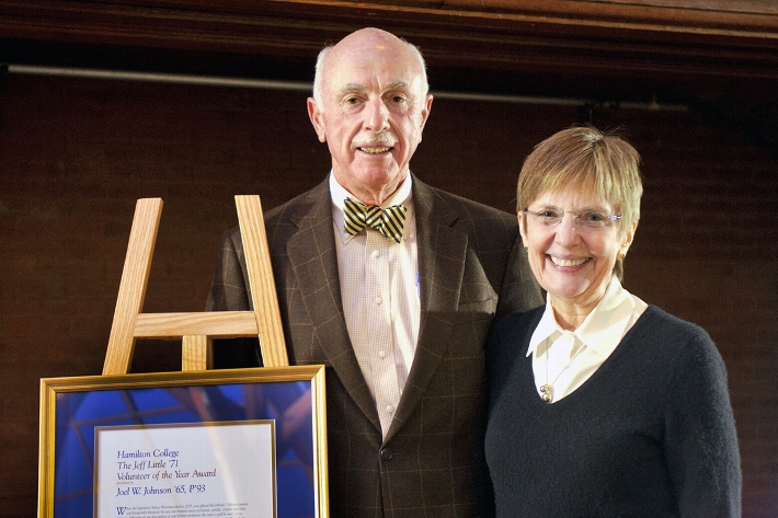 Volunteer of the Year Joel Johnson &apos;65 with President Joan Hinde Stewart.<br />Photo: Nancy L. Ford
