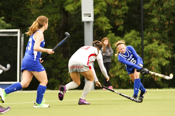 The field hockey team scored three goals in a 3-0 shutout over Wesleyan.<br />Photo: Megan P. Haman