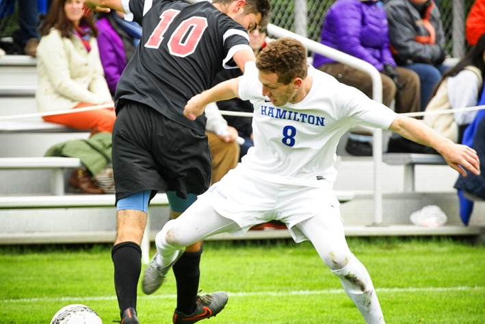 In a 2-1 double overtime win, the men&apos;s soccer team defeated Tufts.<br />Photo: Nancy L. Ford