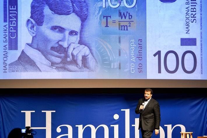 Tyson talks about physicist and inventor Nikola Tesla, who appeared on Serbian currency.<br />Photo: Nancy L. Ford