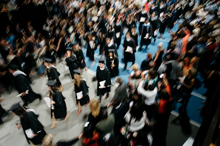The graduates file out.<br />Photo: Adam Brockway