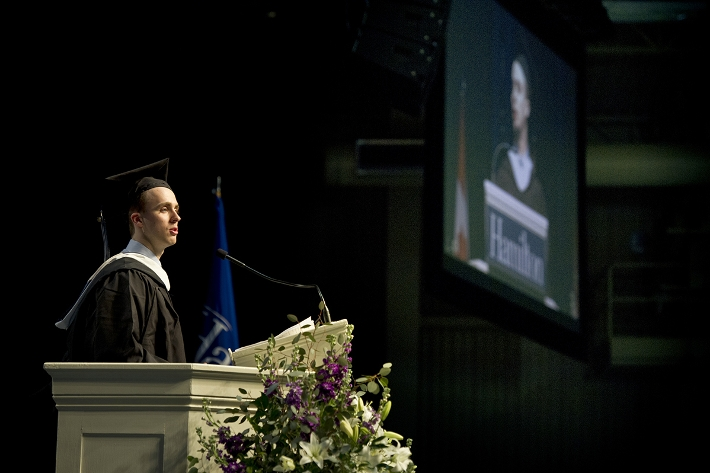 Valedictorian Nicholas Vassos addresses the audience.<br />Photo: Nancy L. Ford