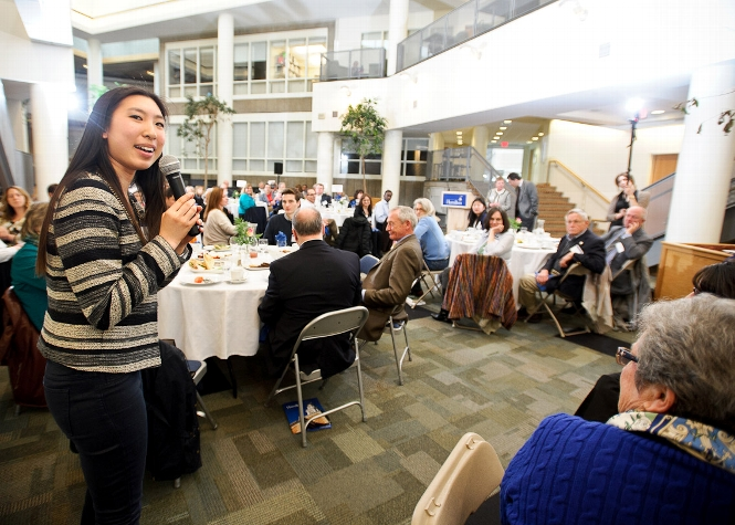 Lisa Yang &apos;17 speaks to guests at the Volunteer Weekend Welcome Lunch in Kirner-Johnson<br />Photo: Nancy L. Ford