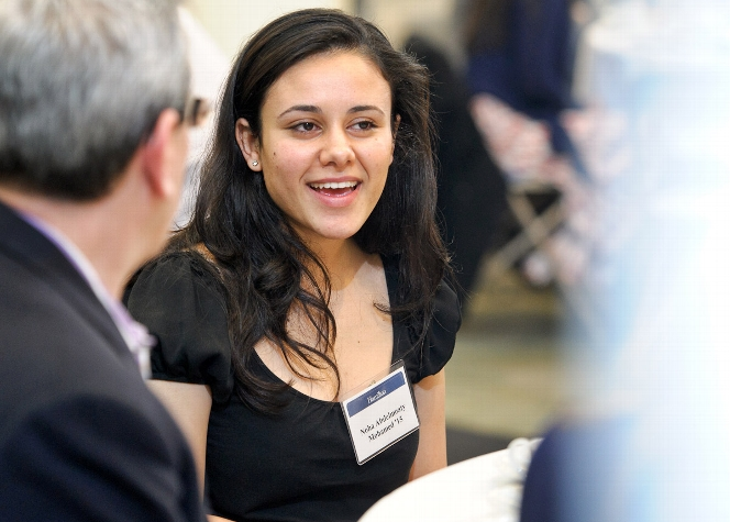 Noha Abdelmoaty &apos;15 chats with John Hadity &apos;83 and other guests at the Volunteer Weekend Welcome Lunch in Kirner-Johnson<br />Photo: Nancy L. Ford