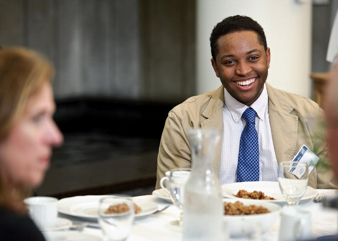 Calab Williamson &apos;17, chats with other guests at his table as members of Hamilton&apos;s Alumni and Parents Council, student leaders and other key College officials attend the Volunteer Weekend Welcome Lunch in Kirner-Johnson <br />Photo: Nancy L. Ford