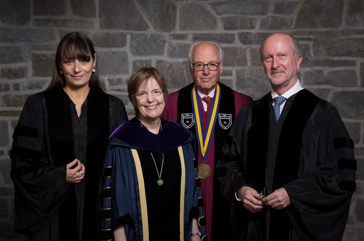 Honorary Degree Recipient Deborah Bial, President Joan Hinde Stewart, Honorary Degree Recipient Thomas J. Schwarz &apos;66 and and Honorary Degree Recipient Christopher Dickey<br />Photo: Vickers and Beechler