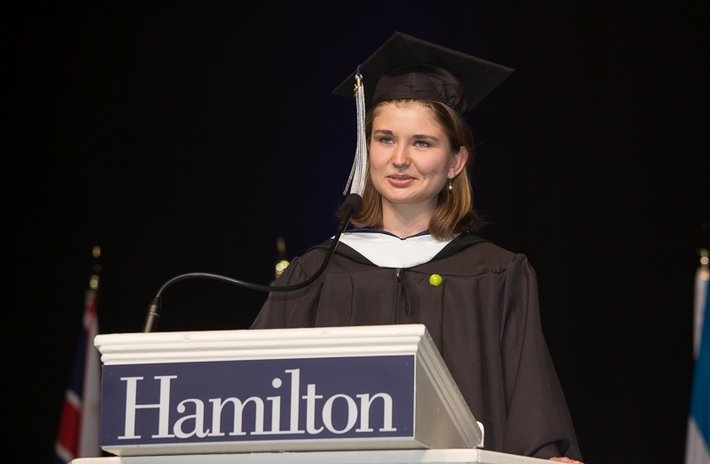 Valedictorian Sarah Hammond &apos;14<br />Photo: Vickers and Beechler