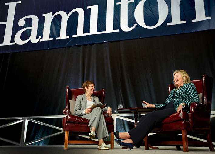 Hillary Rodham Clinton joins Hamilton President Joan Hind Stewart for Q&A and answers questions submitted members of the Hamilton community.