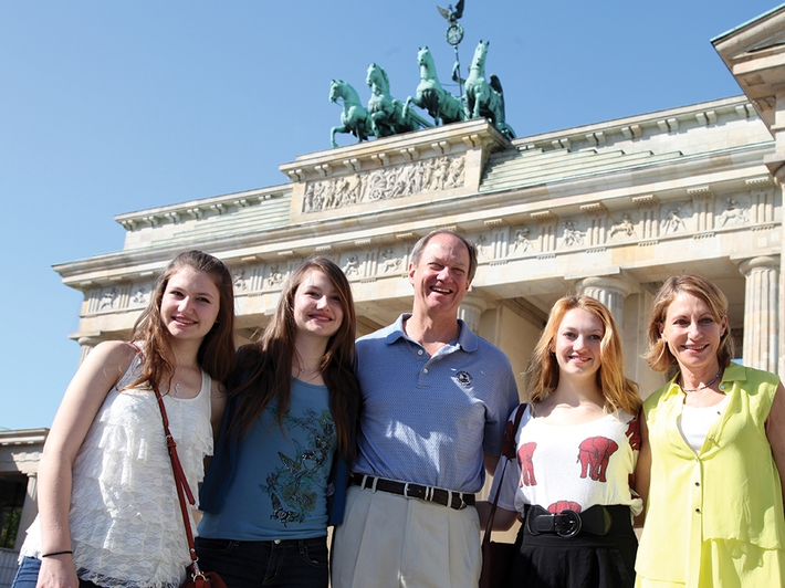 The Emerson family outside the Brandenburg Gate, which from 1945 to 1990 served as part of the border between East and West Berlin. From left: Hayley, Taylor, John, Jackie and Kimberly.