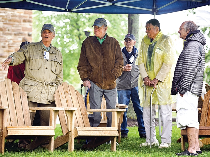 Among those gathered at the dedication of the Adirondack chairs during Reunion Weekend in June were (from left) Kenneth Kahn '63, John von Bergen '63, Donald Potter, professor of geology emeritus, and Robert Olwine '53.