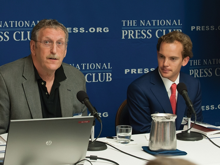 "Professor Maurice Isserman and CBS News Associate Producer Walter Cronkite IV '11 presenting their new book, ""Cronkite's War: His World War II Letters Home,"" to a full house at the National Press Club in Washington, D.C., in June."