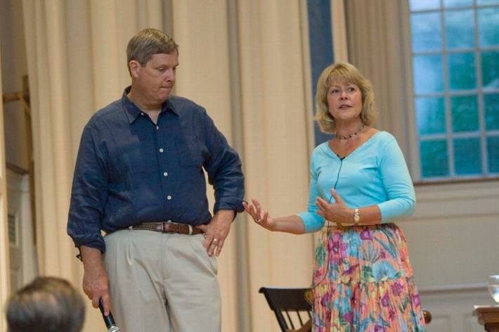 Tom Vilsack '72, the new U.S. secretary of agriculture, and his wife Christie Bell Vilsack '72 speak about the political life at the Chapel during Reunion Weekend in 2007.