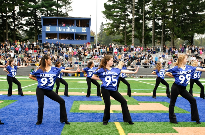 The Dance Team performs at the Hamilton football game.